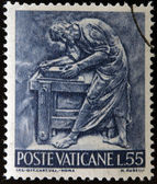 VATICAN - CIRCA 1966: A stamp printed in Vatican shows Bas reliefs of arts and crafts, carpenter, circa 1966 — Stock Photo