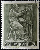 VATICAN - CIRCA 1966: A stamp printed in Vatican shows Bas reliefs of arts and crafts, painter, circa 1966 — Stock Photo