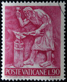 VATICAN - CIRCA 1966: A stamp printed in Vatican shows Bas reliefs of arts and crafts, blacksmith, circa 1966 — Stock Photo