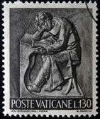 VATICAN - CIRCA 1966: A stamp printed in Vatican shows Bas reliefs of arts and crafts, student, circa 1966 — Stock Photo