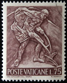 VATICAN - CIRCA 1966: A stamp printed in Vatican shows Bas reliefs of arts and crafts, farmer plowing, circa 1966 — Stock Photo
