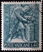 VATICAN - CIRCA 1966: A stamp printed in Vatican shows Bas reliefs of arts and crafts, bricklayer, circa 1966 — Stock Photo