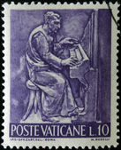 VATICAN - CIRCA 1966: A stamp printed in Vatican shows Bas reliefs of arts and crafts, musician, circa 1966 — Stock Photo