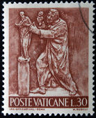 VATICAN - CIRCA 1966: A stamp printed in Vatican shows Bas reliefs of arts and crafts, sculptor, circa 1966 — Stock Photo