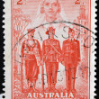 Stock Photo: AUSTRALI- CIRC1940: Stamp printed in Australishows Nurse, Sailor, Soldier and Aviator, Australias participation in WWII, circ1940