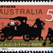 AUSTRALIA - CIRCA 1969: A Stamp printed in Australia shows the Ford Truck, Surveyors Lieuts. Hudson Fysh and P.J. McGinness, circa 1969 - Stock Photo