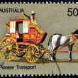 AUSTRALIA - CIRCA 1972: A stamp printed in Australia shows Coach Transport, Australian Pioneer Life, circa 1972 - Stock Photo