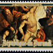 BURUNDI - CIRCA 1977: Stamp printed in Burundi shows The Descent from the Cross by Peter Paul Rubens, easter, circa 1977 — Stock Photo