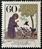 GERMANY - CIRCA 1989: A stamp printed in Germany shows St. Francis of Assisi, circa 1989 — Stock Photo