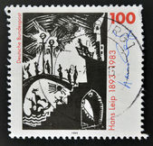 Duitsland - circa 1993: een stempel gedrukt in Duitsland toont tekenen door hans leip, circa 1993 — Stockfoto