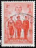AUSTRALIA - CIRCA 1940: A Stamp printed in Australia shows the Nurse, Sailor, Soldier and Aviator, Australias participation in WWII, circa 1940 — Stock Photo