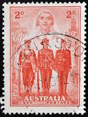 AUSTRALIA - CIRCA 1940: A Stamp printed in Australia shows the Nurse, Sailor, Soldier and Aviator, Australias participation in WWII, circa 1940 — Stock Photo
