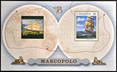 CANADA - CIRCA 1999: stamp printed in Canada, shows Sailing Ship Marco Polo, circa 1999 — Foto de Stock