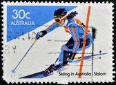 AUSTRALIA - CIRCA 1984: stamp printed in Australia shows slalom, circa 1984 — Stock Photo