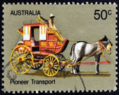 AUSTRALIA - CIRCA 1972: A stamp printed in Australia shows Coach Transport, Australian Pioneer Life, circa 1972 — Stock Photo