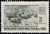 Brasil - circa 1966: un sello impreso en brasil muestra batalla de tuyuti, circa 1966 — Foto de Stock