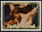 BURUNDI - CIRCA 1977: Stamp printed in Burundi shows Christ crucified by Peter Paul Rubens, easter, circa 1977 — Stock Photo