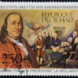CHAD - CIRCA 1976: A stamp printed in Chad, shows shows Benjamin Franklin presenting the Declaration of Independence, circa 1976 — Stock Photo #21830151