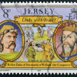 Stock Photo: JERSEY - CIRC1982: Stamp printed in Jersey shows links with France, Rollon Duke of Normandy and William Conqueror, circ1982