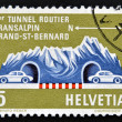 SWITZERLAND - CIRCA 1964: A stamp printed in Switzerland shows a Road Tunnel Through Great St. Bernard, circa 1964 — Stock Photo
