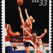 UNITED STATES OF AMERICA - CIRCA 2000: A stamp printed in USA commemorates youth team sports in America, shows basketball, circa 2000 — Stock Photo
