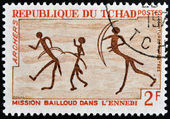 CHAD - CIRCA 1968: stamp printed in Chad shows Rock Painting, Archers, circa 1968 — ストック写真