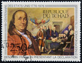 CHAD - CIRCA 1976: A stamp printed in Chad, shows shows Benjamin Franklin presenting the Declaration of Independence, circa 1976 — Stock Photo