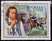 CHAD - CIRCA 1976: A stamp printed in Chad shows Paul Reveres Ride and Portrait by Copley, circa 1976 — Zdjęcie stockowe