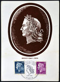 FRANCE - CIRCA 1967: A stamp printed in France shows marianne sowing, symbolizes France , circa 1967 — Stock Photo