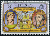 JERSEY - CIRCA 1982: Stamp printed in Jersey shows links with France, Rollon Duke of Normandy and William the Conqueror, circa 1982 — Stock Photo