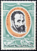 ROMANIA - CIRCA 1975: A stamp printed in Romania shows Michelangelo Buonarroti by Jacopino del Conte, circa 1975 — Stock Photo