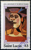 SAINT LUCIA - CIRCA 1981: stamp printed in Saint Lucia shows seated woman by Pablo Ruiz Picasso, circa 1981 — Stock Photo