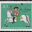 Stockfoto: GERMANY - CIRC1970: stamp printed in Germany shows Munchhausen on his severed horse, soldier and storyteller Count Hieronymus C. von Munchhausen, circ1970