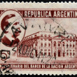 Foto Stock: ARGENTIN- CIRC1941: stamp printed in Argentinshows Carlos Pellegrini and Bank of Nation, 50th Anniversary of Founding, circ1941