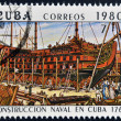 "CUBA - CIRCA 1980: A stamp printed in Cuba shows construction of a Cuban naval vessel ""El Rayo"", built in 1749, circa 1980 — Stock Photo"
