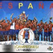SPAIN - CIRCA 2012: A stamp printed in Spain shows the Spanish football champions of Europe, circa 2012 — Stock Photo