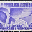 SPAIN-CIRCA 1933: A stamp printed in Spain dedicated to anniversary of the Madrid press, circa 1933 — Stock Photo
