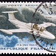 FRANCE - CIRCA 1969: A stamp printed in France shows image of a Morane-Saulnierthe glider MS 760 Paris, circa 1969 — Stock Photo