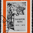ITALY - CIRCA 1973: a stamp printed in Italy shows Title Page for Book about Salvator Rosa, 75th International Fair, Verona, circa  — Stock Photo