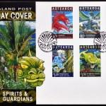Постер, плакат: NEW ZEALAND CIRCA 2000: Stamps printed in New Zealand dedicated to spirits and guardians maori legends circa 2000