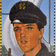 SAO TOME AND PRINCIPE - CIRCA 1995: A stamp printed in Sao Tome and Principe shows image portrait of famous American singer Elvis Presley (1935-1977), circa 1995. — Stock Photo