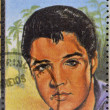 SAO TOME AND PRINCIPE - CIRCA 1995: A stamp printed in Sao Tome and Principe shows image portrait of famous American singer Elvis Presley (1935-1977), circa 1995. — Stock Photo #22447673