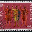 SWITZERLAND - CIRCA 1982: a stamp printed in Switzerland shows Oath of Eternal Fealty, circa 1982 — Foto Stock