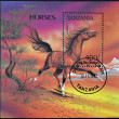 TANZANIA - CIRCA 1993: A stamp printed in Tanzania showing horse, circa 1993  — Stock Photo