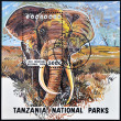 Stock Photo: TANZANI- CIRC1993: stamp printed in Tanzanidedicated to lake manyarnational park shows elephant, circ1993