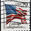 Stock Photo: UNITED STATES OF AMERIC- CIRC1992: stamp printed in USshows USFlag, I Pledge of Allegiance, circ1992