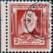 Stock Photo: UNITED STATES OF AMERIC- CIRC1940: stamp printed in USshows John Greenleaf Whittier, circ1940