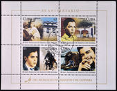 CUBA - CIRCA 2008: Stamps printed in Cuba dedicated to 80th anniversary of the birth of Ernesto Che Guevara, circa 2008 — Stok fotoğraf