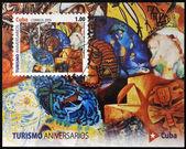 2009 年頃 - キューバ: キューバの観光事業に専用の印刷スタンプ示しますホテル イングラテラの 2009 年頃にいくつかのアーティストによる壁画 — ストック写真