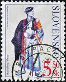 SLOVAKIA - CIRCA 2001: A stamp printed in Slovakia shows male costume Detva, circa 2001 — ストック写真